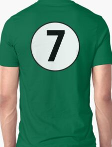7, SEVEN, LUCKY, Seventh, Number Seven, Number 7, Racing, Seven, Competition, BRITISH RACING GREEN T-Shirt
