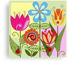 Whimsical flowers and Ladybugs Canvas Print