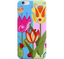 Whimsical flowers and Ladybugs iPhone Case/Skin