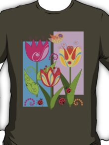Whimsical flowers and Ladybugs T-Shirt