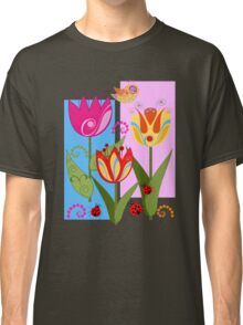 Whimsical flowers and Ladybugs Classic T-Shirt