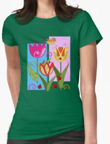 Whimsical flowers and Ladybugs Womens Fitted T-Shirt
