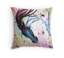 Curious and Charming Wild Horse  Throw Pillow