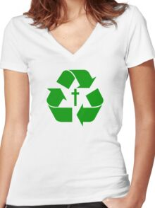 God Recycles people Women's Fitted V-Neck T-Shirt