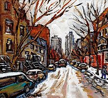 BEST PLATEAU MONT ROYAL STREET SCENES HUTCHISON AND PRINCE ARTHUR LOOKING TOWARDS DOWNTOWN MONTREAL by Carole  Spandau