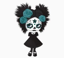 Shy Big Eyes Day of the Dead Girl with Blue Roses Kids Clothes