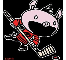 Stormy the Hockey Pig Photographic Print