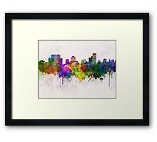 Columbia skyline in watercolor background Framed Print