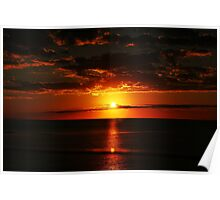 Red sunset on the ocean Poster