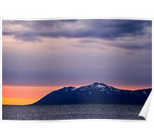the sun sets over iceland Poster