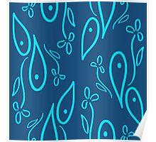 seamless pattern with blue ornament Poster