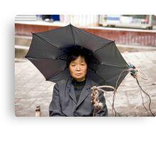 Umbrella Hat Lady Canvas Print