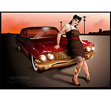 Pinup with a hot ride Photographic Print