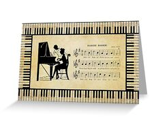 Silhouette Piano Player And Baker Greeting Card
