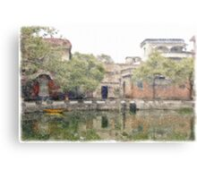 Village by the pond Metal Print