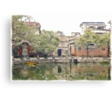 Village by the pond Canvas Print