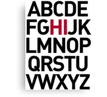 Alphabet Hello Canvas Print