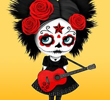 Red Sugar Skull Big Eyed Girl Playing the Guitar by Jeff Bartels