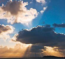 Morning sunbursts over San Mateo-Hayward Bridge, San Francisco Bay by MarkEmmerson