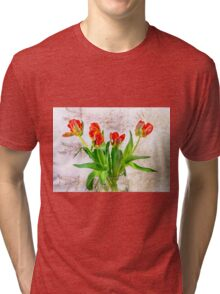 HDR French Red Tulips  Tri-blend T-Shirt