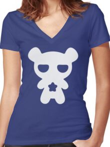 Lazy Bear Baby Blue Women's Fitted V-Neck T-Shirt