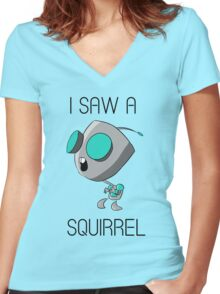 I saw a squirrel Women's Fitted V-Neck T-Shirt