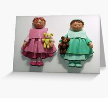 Dolls with bears. Greeting Card