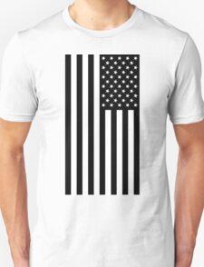 Black And White American Flag Unisex T-Shirt