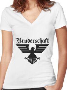 Brotherhood Eagle (Bruderschaft Bundesadler) - Black/Schwartz Women's Fitted V-Neck T-Shirt