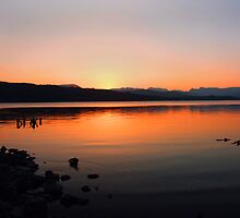 Sunset Over The Lake by Asterixphoto