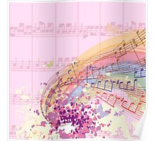 Pink Sheet Music Colorsplash Poster