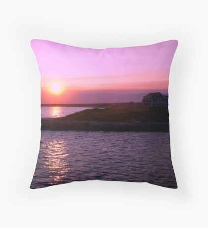 Sunset in RI Throw Pillow