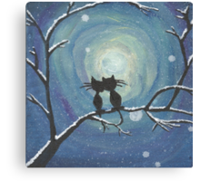 Cats in love in the moonlight Canvas Print