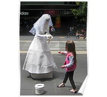 Busking Bride & little girl - Bourke St Melbourne Poster