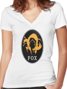 MGS - FOX Logo Women's Fitted V-Neck T-Shirt