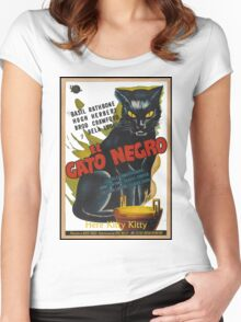 Black Cat Retro Vintage Movie  Women's Fitted Scoop T-Shirt