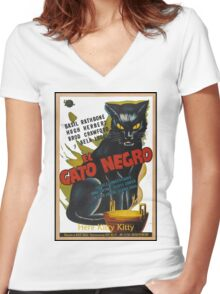 Black Cat Retro Vintage Movie  Women's Fitted V-Neck T-Shirt