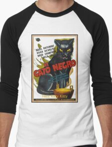 Black Cat Retro Vintage Movie  Men's Baseball ¾ T-Shirt