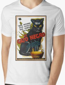 Black Cat Retro Vintage Movie  Mens V-Neck T-Shirt