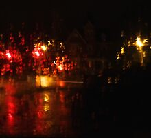 Night Time Intersection; Rainy Window by goddarb