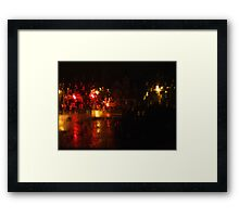 Night Time Intersection; Rainy Window Framed Print