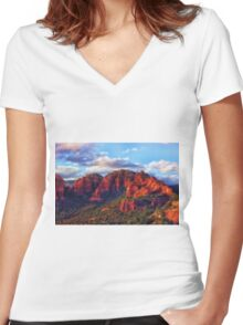 Cliffs of Sedona at Sunset Women's Fitted V-Neck T-Shirt