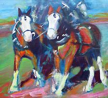 The leaders, two draft horses by lindbladstudios