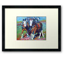 The leaders, two draft horses Framed Print