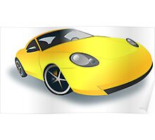 Yellow Sports Car Poster