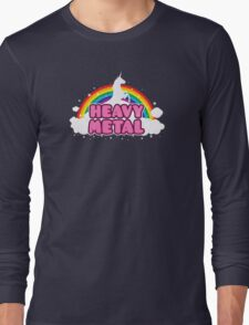 HEAVY METAL! (Funny Unicorn / Rainbow Mosh Parody Design) Long Sleeve T-Shirt
