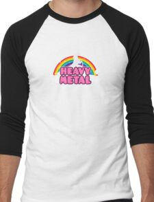 HEAVY METAL! (Funny Unicorn / Rainbow Mosh Parody Design) Men's Baseball ¾ T-Shirt