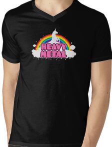 HEAVY METAL! (Funny Unicorn / Rainbow Mosh Parody Design) Mens V-Neck T-Shirt