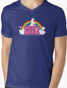 HEAVY METAL! (Funny Unicorn / Rainbow Mosh Parody Design) Mens V-Neck T-Shirt