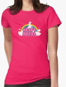 HEAVY METAL! (Funny Unicorn / Rainbow Mosh Parody Design) Womens Fitted T-Shirt